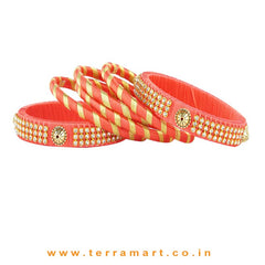 Facinating Tomato Pink & Gold Colour Silk Thread Bangle With Stones - Terramart Jewellery