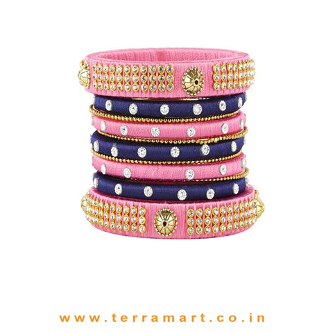 Facinating Navyblue & Baby Pink Colour Silk Thread Bangle With Stones - Terramart Jewellery