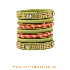 Dainty Sap Green, Pink & Gold Colour Silk Thread Bangle With Stones