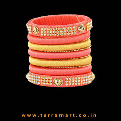 Dainty Tomato Pink & Gold Colour Silk Thread Bangle With Stones - Terramart Jewellery