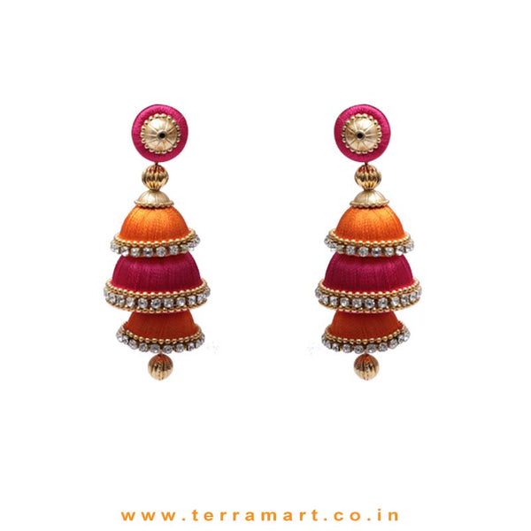 Pink, Orange & Gold Colour 3 Layer Silk Thread Jumka Set With Stone - Terramart Jewellery