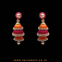 Pink & Orange Colour Combinated with White Stone Silk Thread Studded Jumka