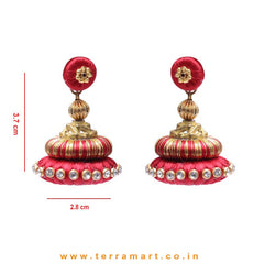 Stylish Ethnic Red & Gold Double Colour Silk Thread Jumka Set With Stone - Terramart Jewellery