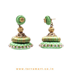 Stylish Ethnic Parrot Green & Gold Double Colour Silk Thread Jumka Set With Stone - Terramart Jewellery
