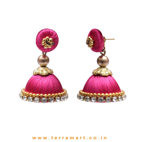Simple & Nice Pink & Gold Colour Silk Thread Jumkas With Stone - Terramart Jewellery