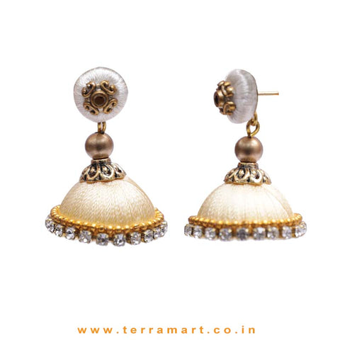 Simple & Nice Sandal & Gold Colour Silk Thread Jumkas With Stone - Terramart Jewellery