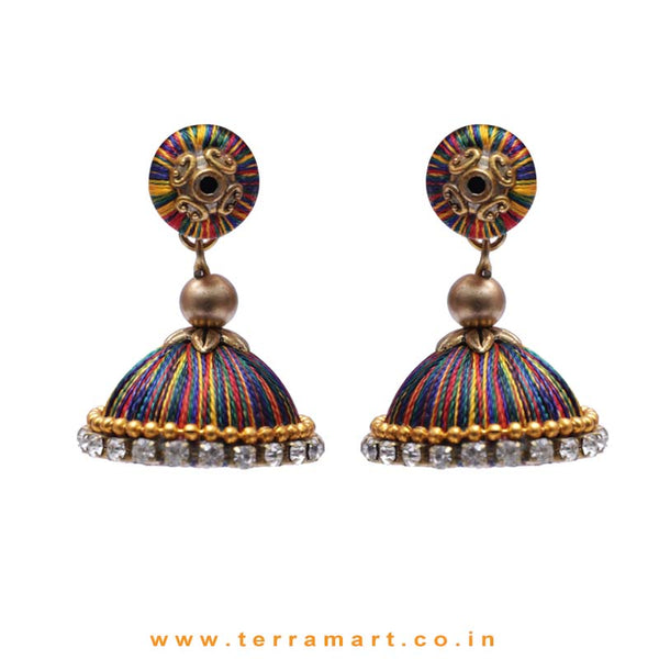 Simple & Nice Multicolour Silk Thread Jumka With Stone - Terramart Jewellery