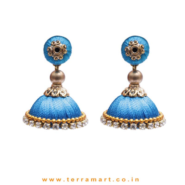 Simple & Nice Sky Blue & Gold Colour Silk Thread Jumka With Stone - Terramart Jewellery