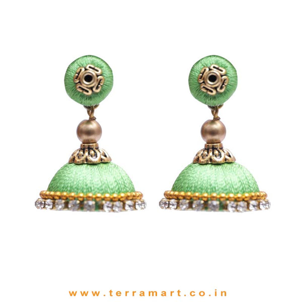 Simple & Nice Parrot Green & Gold Colour Silk Thread Jumkas With Stone - Terramart Jewellery