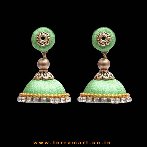 Parrot Green Color with White Stone Worked Silk Thread Studded Jumka