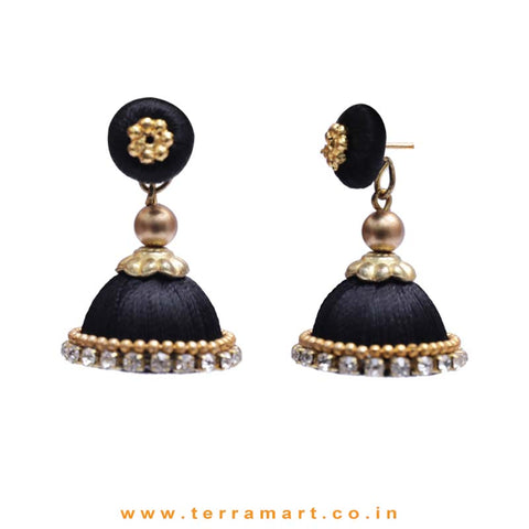 Simple & Nice Black & Gold Colour Silk Thread Jumkas With Stone - Terramart Jewellery