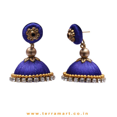 Simple & Nice Navy Blue & Gold Colour Silk Thread Jumkas With Stone - Terramart Jewellery