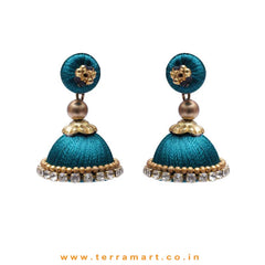 Simple & Nice Peacock Green & Gold Colour Silk Thread Jumkas With Stone - Terramart Jewellery