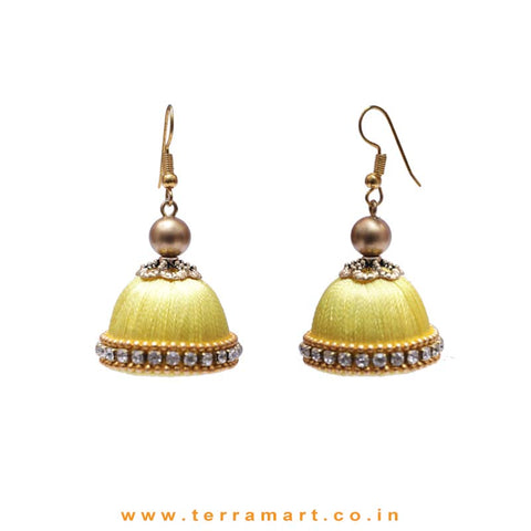 Facinating Lemon Yellow Colour Silk Thread Hook Jumka Set  With Stone - Terramart Jewellery