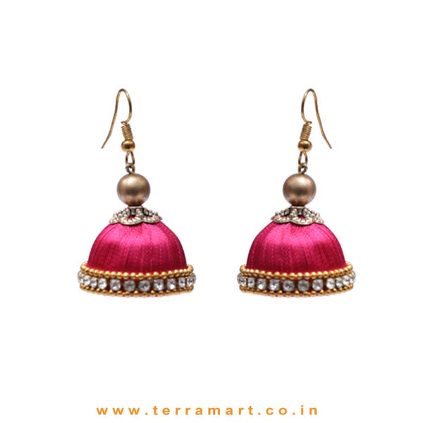 Facinating Pink Colour Silk Thread Hook Jumka Set With Stone - Terramart Jewellery