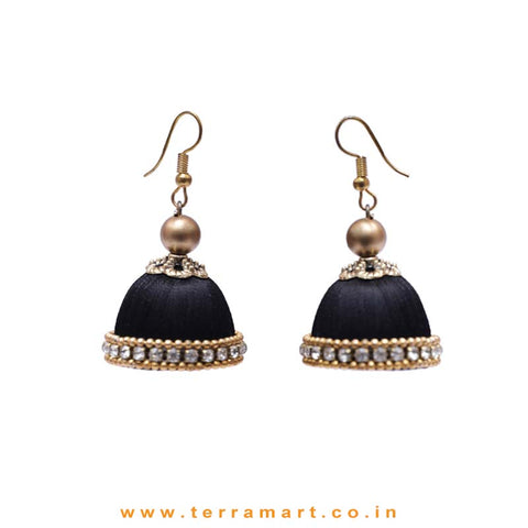 Facinating Black Colour Silk Thread Hook Jumka Set With Stone - Terramart Jewellery