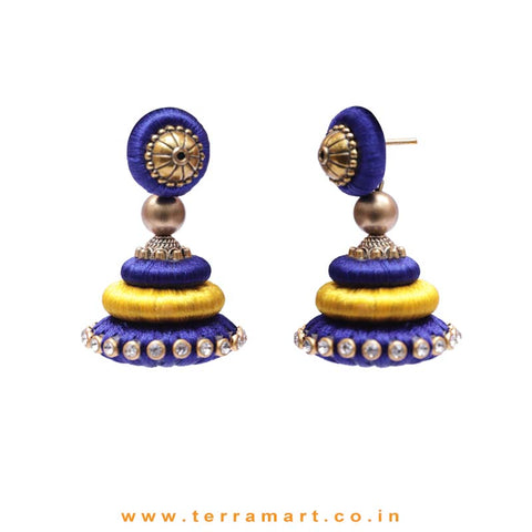 Marvellous Navy Blue & Mango Yellow Colour Silk Thread Jumka Set With Stone - Terramart Jewellery