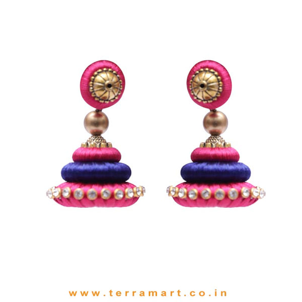 Marvellous Pink & Navy Blue Colour Silk Thread Jumka Set With Stone - Terramart Jewellery