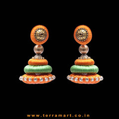 Marvellous Orange & Parrot Green Colour Silk Thread Jumka Set With Stone - Terramart Jewellery