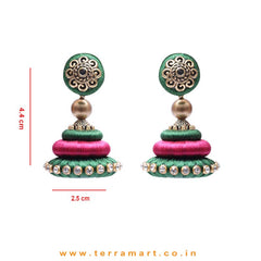 Marvellous Sap Green & Pink Colour Silk Thread Jumka Set With Stone - Terramart Jewellery
