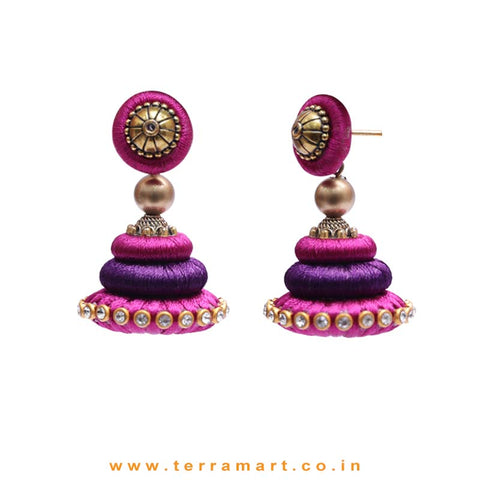 Marvellous Purple & Violet Colour Silk Thread Jumka Set With Stone - Terramart Jewellery