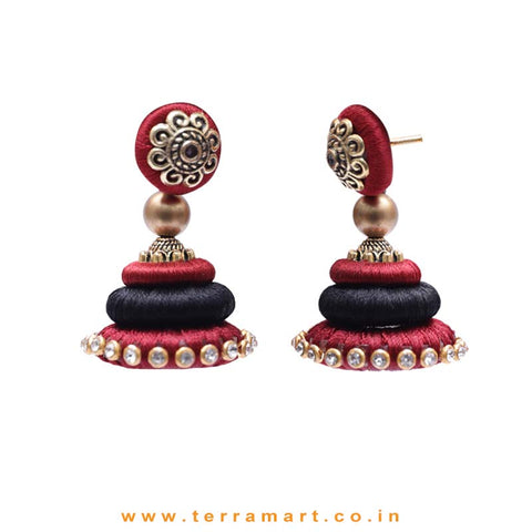 Marvellous Maroon & Black Colour Silk Thread Jumka Set With Stone - Terramart Jewellery