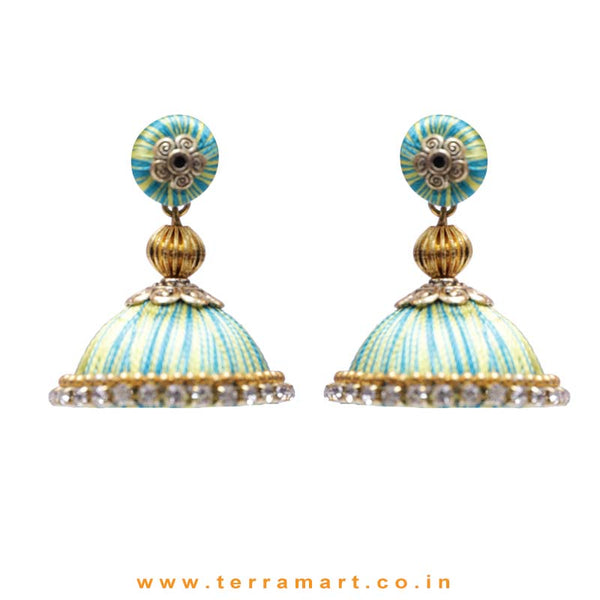 Pretty Sky Blue & Yellow Double Colour Thread Silk Jumka Set  - Terramart Jewellery