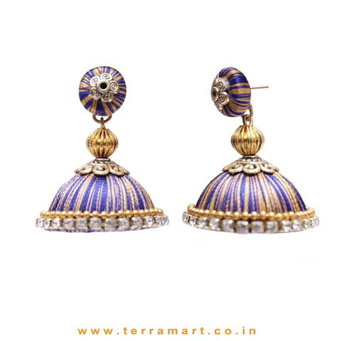Pretty Navy Blue & Gold Double Colour Thread Silk Jumka Set  - Terramart Jewellery