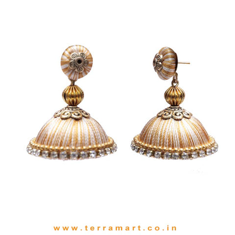 Pretty Sandal & Gold Double Colour Thread Silk Jumka Set  - Terramart Jewellery