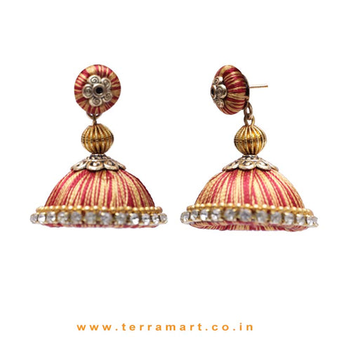 Pretty Maroon & Gold Double Colour Thread Silk Jumka Set  - Terramart Jewellery
