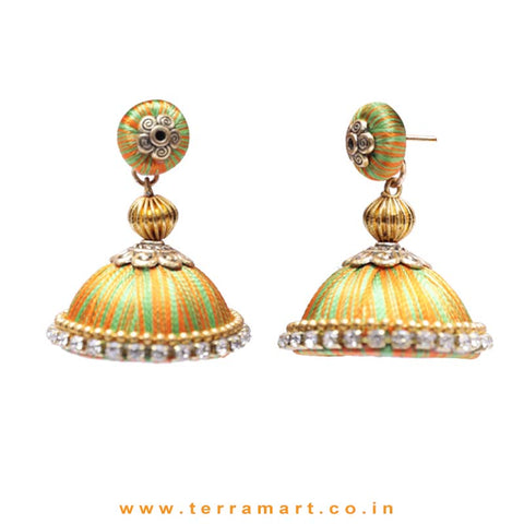 Pretty Orange & Green Double Colour Thread Silk Jumka Set  - Terramart Jewellery