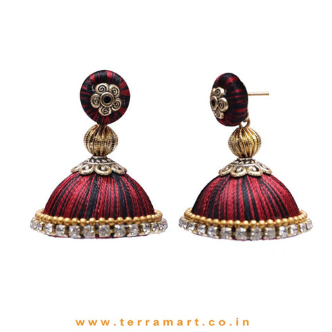 Pretty Maroon & Black Double Colour Thread Silk Jumka Set  - Terramart Jewellery