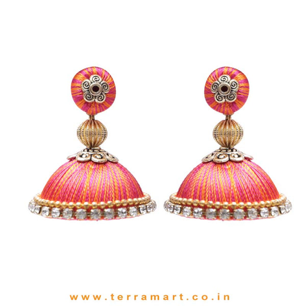 Pretty Pink & Orange Double Colour Thread Silk Jumka Set  - Terramart Jewellery