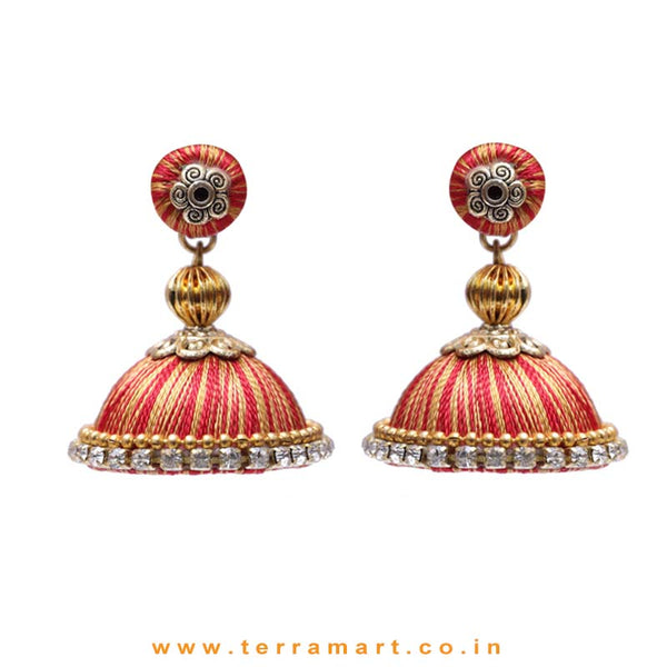 Pretty Red & Gold Double Colour Thread Silk Jumka Set  - Terramart Jewellery