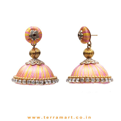Pretty Pink & Mango Yellow Double Colour Thread Silk Jumka Set  - Terramart Jewellery