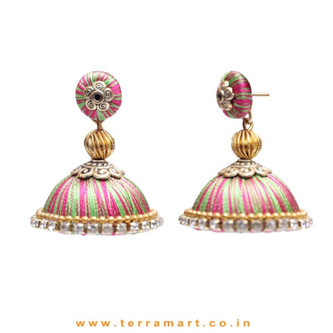 Pretty Pink, Parrot Green Double Colour Thread Silk Jumka Set  - Terramart Jewellery