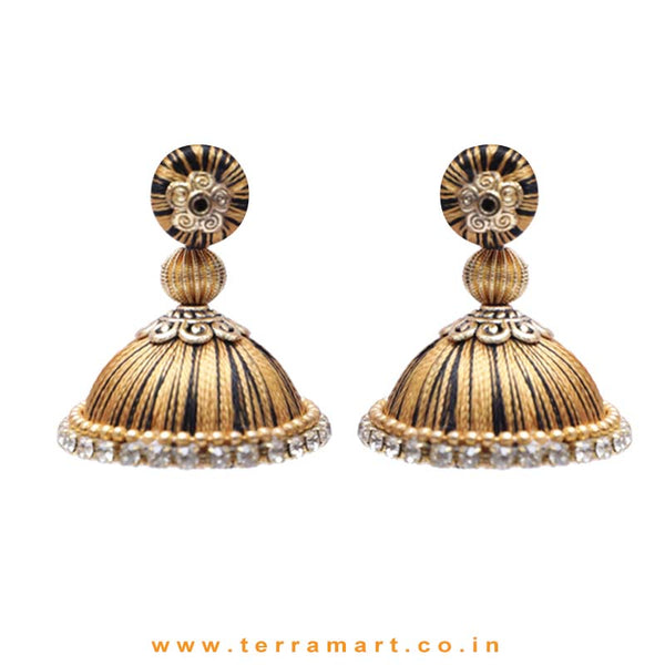 Pretty Black & Gold Double Colour Thread Silk Jumka Set  - Terramart Jewellery