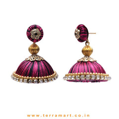 Pretty Purple & Black Double Colour Thread Silk Jumka Set  - Terramart Jewellery