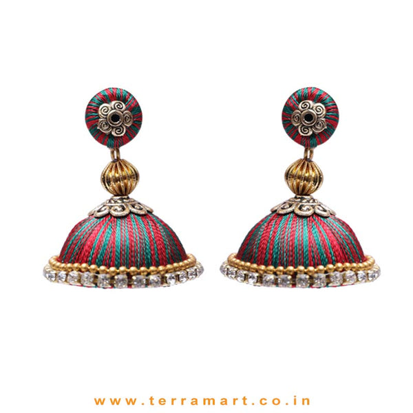 Pretty Dark Green & Red Double Colour Thread Silk Jumka Set  - Terramart Jewellery