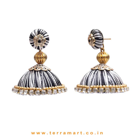 Pretty White & Black Double Colour Thread Silk Jumka Set  - Terramart Jewellery