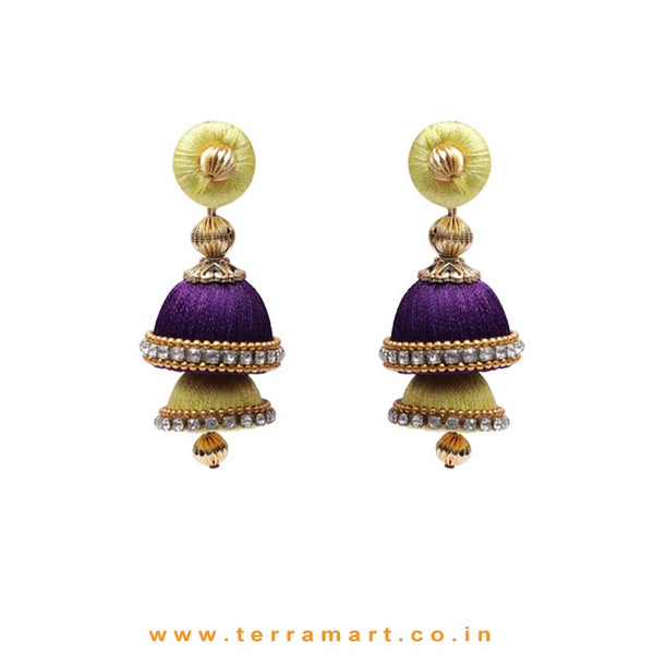 Lemon Yellow & Violet Coloured 2 Layer Silk Jumka Set With Stone - Terramart Jewellery