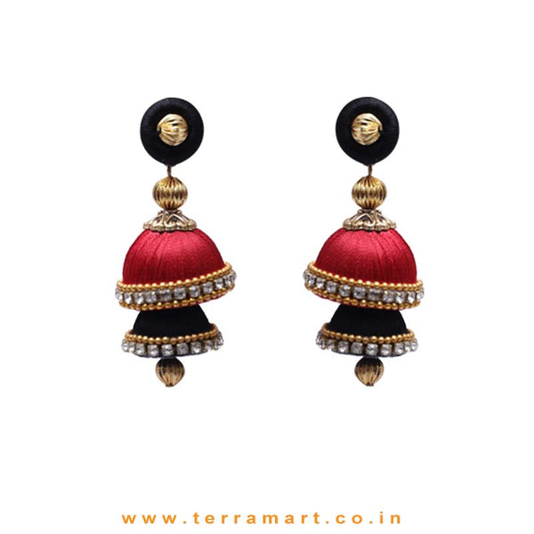 Lemon Black & Maroon Coloured 2 Layer Silk Jumka Set With Stone - Terramart Jewellery