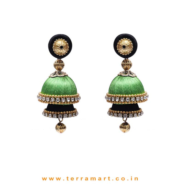 Lemon Black & Parrot Green Coloured 2 Layer Silk Jumka Set With Stone - Terramart Jewellery