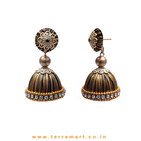 Classic Black & Gold Double Colour Thread Silk Jumka Set With Stone - Terramart Jewellery