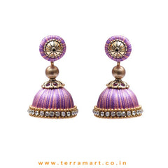 Classic Baby Pink & Lavender Double Colour Thread Silk Jumka Set With Stone - Terramart Jewellery
