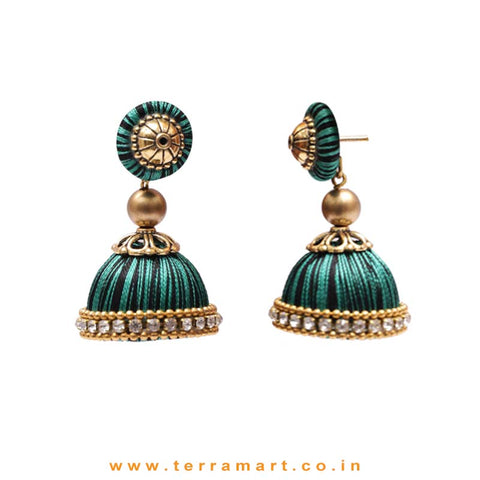 Classic Black, Green Double Colour Thread Silk Jumka Set With Stone - Terramart Jewellery