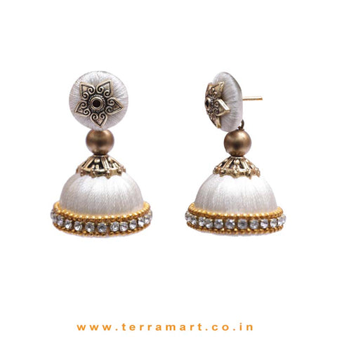 Pleasant Full White Coloured Silk Thread Jumka Set With Stone - Terramart Jewellery