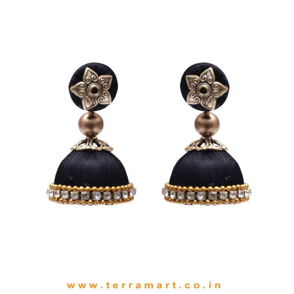 Pleasant Full Black Coloured Silk Thread Jumka Set With Stone - Terramart Jewellery