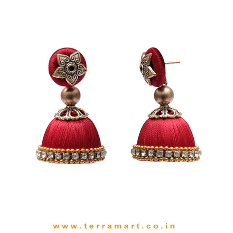Pleasant Full Red Coloured Silk Thread Jumka Set With Stone - Terramart Jewellery