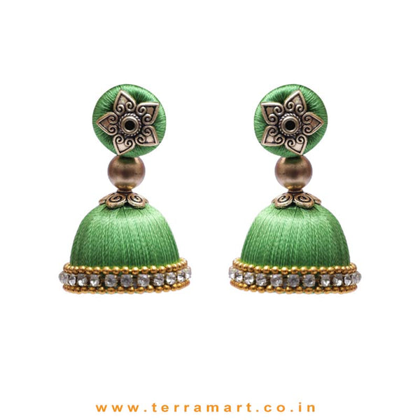 Pleasant Full Parrot Green Coloured Silk Thread Jumka Set With Stone - Terramart Jewellery
